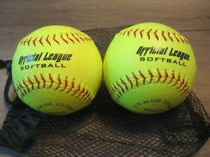 (2) Worth Official League Softball 12 IN .44 Cor 375 Comp YWCS12 with Mesh Bag