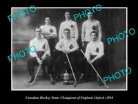 OLD LARGE HISTORIC PHOTO OF THE CANADIAN MENS ICE HOCKEY TEAM CHAMPIONS 1910