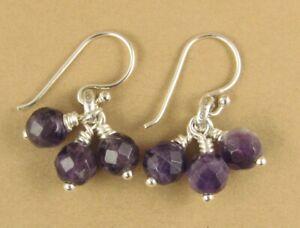 Amethyst cluster earrings. Faceted, 3 beads. Sterling silver. Handmade.
