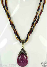 Collier pendentif vintage forme goutte, bordeaux, strass, bijoux fantaisie, neuf