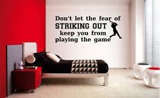 FEAR OF STRIKING OUT BASEBALL LETTERING DECAL WALL VINYL DECOR STICKER SPORTS