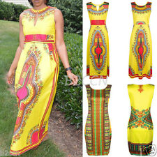 New Women Boho Summer Sleeveless African Tribal Floral Print Bodycon Party Dress