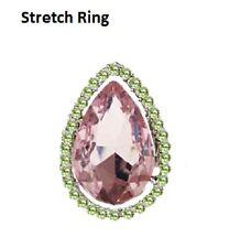 "1.5"" Long Pink and Green Rhinestone Teardrop Stretch Ring"