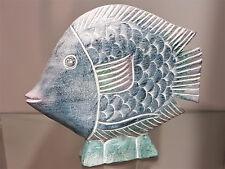 großer Fisch blau aus Holz Maritim Handarbeit Deko Skulptur Tierfigur Geschenk