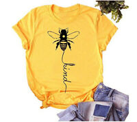Women Bee Kind Peace Letters Tee Casual Funny Top Blouse Short Sleeve T-Shirt