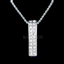 Vertical Bar made with Swarovski Crystal Elegant Everyday Simple Mother Necklace