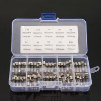 100× 5x20mm Sortiment Feinsicherungen Gerätesicherungen Glassicherungen 0.2-20A