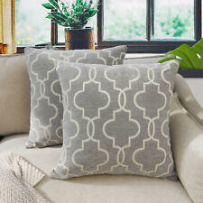 "18"" Geometric Trellis Diamond Cushion Cover Sofa Pillow Cases Home Decor 7Colors"