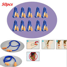 50 Pairs Soft Silicone Corded Ear Plugs Reusable Hearing Protection 25dB New
