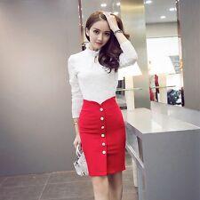 Women Solid High Waist Office Button Pencil Skirt Bodycon Slim Package Hip Skirt