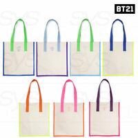 BTS BT21 Official Authentic Goods Neon Collection Vivid Canvas Bag 34x37x5cm