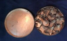 Vintage Round Tin with Miniature Cookie Candy Cutters 12 Total Heart Star Spade