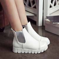 Women's Pull On Creepers Ankle Boots Platform Round Autumn Toe Winter Shoes Size