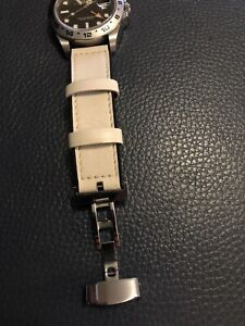 21mm rubber strap leather Strap For Longines  / Rolex Explorer 2 Watch