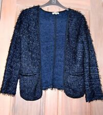 Dark Blue Jacket Style Fluffy Cardigan Size 10/12