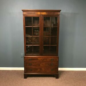 Small Glass Front 3 Drawer Chippendale Mahogany Cabinet Bookcase  3 Drawers