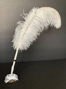 Vintage Ostrich Feather Quill Signing Pen with Metal Holder Wedding Set White