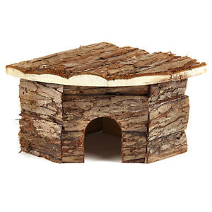 Natural Living Corner House For Small Animals Real Wood Mouse Hamster Gerbil Rat