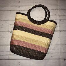BNWOT Vintage Style Basket Rafia Multi Stripe Beach Festival Tote Shopper Bag