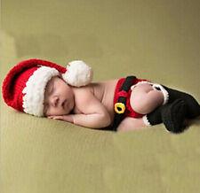 Newborn Baby Christmas Santa Knitted Crochet Costume Photo Photography Prop-G04