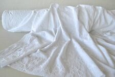 """White Embroidered Floral 100% Cotton Washed Lawn 54"""" Wide Fabric By The Yard"""