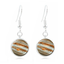 Jupiter Tibet Silver Dome Photo Art 16Mm Glass Cabochon Long Earrings~139