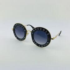 New GUCCI GG0113S L'aveugle Par Amour Black Gold Gray Round Sunglasses Women