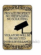 Private Property No Trespassing No Soliciting Video Surveillance Sign 8 x 12