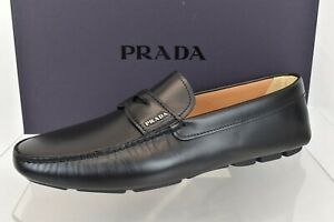 PRADA 2DD158 BLACK LEATHER LOGO DRIVING MOCCASINS PENNY LOAFERS 12 / US 13