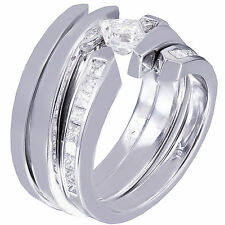 14K WHITE GOLD PRINCESS DIAMOND ENGAGEMENT RING BAND TENSION 1.25CT H-VS2 EGL US