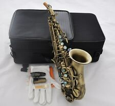 High Grade Antique Curved Soprano Sax Bb Saxophone Ablone shell Keys High F New