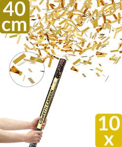 10 Konfetti Kanone Shooter GOLD 40 cm Regen Party Popper Confetti Hochzeit Feier