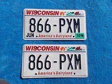 Vintage Original PAIR Wisconsin 866 PXM License VEHICLE Tag Man Cave Reissue