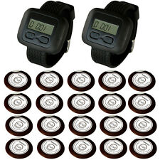 SINGCALL Wireless Restaurant Waiter Calling Systems for Hotel 2 Watches 20 Bells