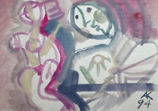 1994 ABSTRACT EXPRESSIONIST FIGURES WATERCOLOR PORTRAIT PAINTING, SIGNED