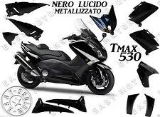 KIT CARENE SCOCCHE PLASTCHE YAMAHA TMAX T-MAX 530 2012 2014 NERO LUCIDO 11 PEZZI