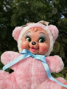 vintage rubber face pink bear 10""