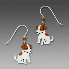 Sienna Sky Earrings Sterling Silver Hook Hand Painted Jack Russell Terrier Dog