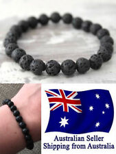 New Chakra Bracelet Healing Lava 8mm Black Bead Oil Diffuser Aromatherapy 1pc