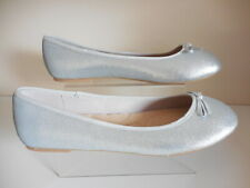 Flat Silver Sequin Ballerina Shoes Size UK 9 Wide Fit (EEE) BNWT From Evans