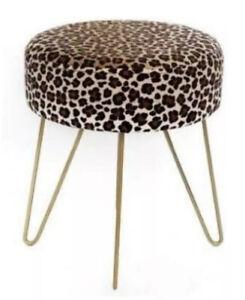 Temerity Jones Leopard Animal Print Gold Tone Small Stool Foot Designer Hairpin