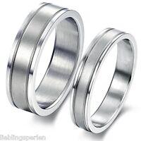 1 Damen Herren Edelstahlring Partnerring Trauring Fingerring Silberf.M11508 L/P