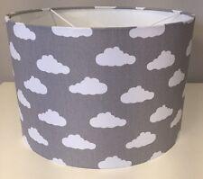Grey And White Cloud Lampshade Handmade In 40cm Drum, Babies Nursery, Bedroom
