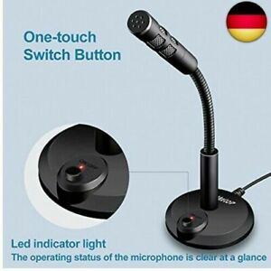 USB Mikrofon für PC und Laptop Kondensator Standmikrofon 360 ° Studio Gaming DE