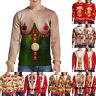 Men's Novelty Christmas Xmas Long Sleeve T-shirt Santa 3D Print Tops Festive Tee
