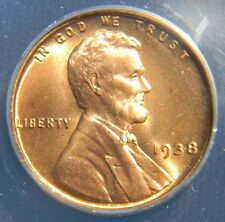 NEARLY PERFECT 1938 LINCOLN WHEAT CENT/PENNY ANACS MS67 RED, BEAUTIFUL COLOR