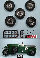 "BRM 23"" 5X BLACK SPOKED WIRE WHEELS 25,5 x 7mm SCALEXTRIC BENTLEY ASTON BUGATTI"