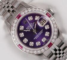 Rolex Ladies Datejust Steel-Purple Diamond Dial-Pink Stone & Diamond Bezel 26mm
