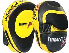 TurnerMAX Focus Pad Hook & Jab Training Mitts Kick Boxing MMA Punching Curved