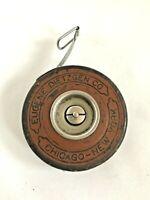 Vintage Eugene Dietzgen Metal Measuring Reliance Tape 50' Leather Case